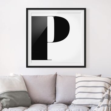 Product picture Framed print - Antiqua Letter P - Square...