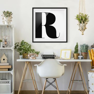 Product picture Framed print - Antiqua Letter R - Square...
