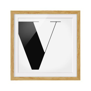 Product picture Framed print - Antiqua Letter V - Square...