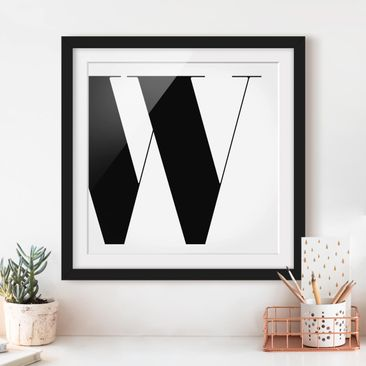Product picture Framed print - Antiqua Letter W - Square...