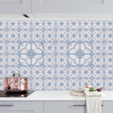 Produktfoto Küchenrückwand - Fliesenmuster Lagos blau vergrößerte Ansicht in Wohnambiente Artikelnummer232268-XWA