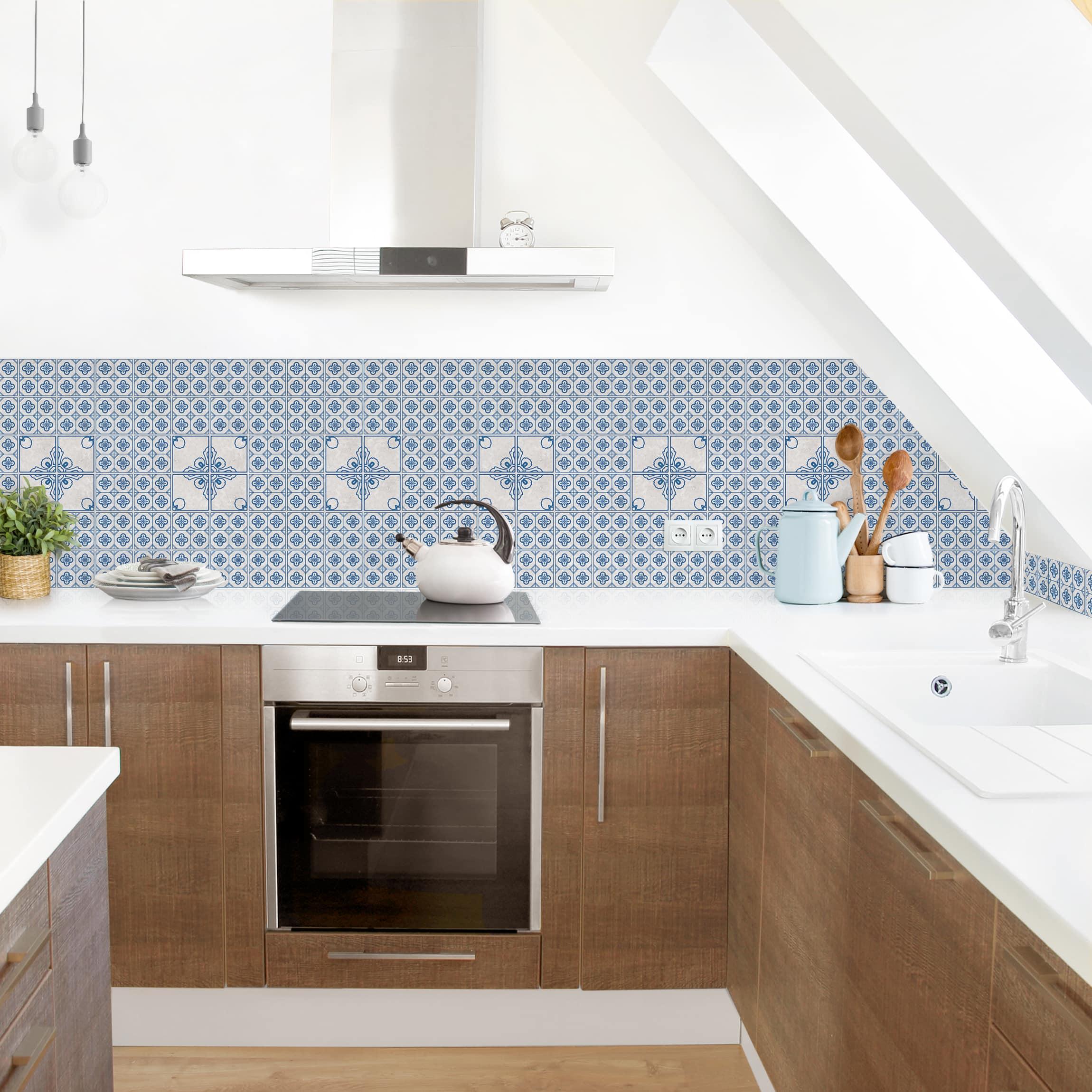 Piastrelle Cucina Da Incollare rivestimento cucina - motivo piastrelle porto blu