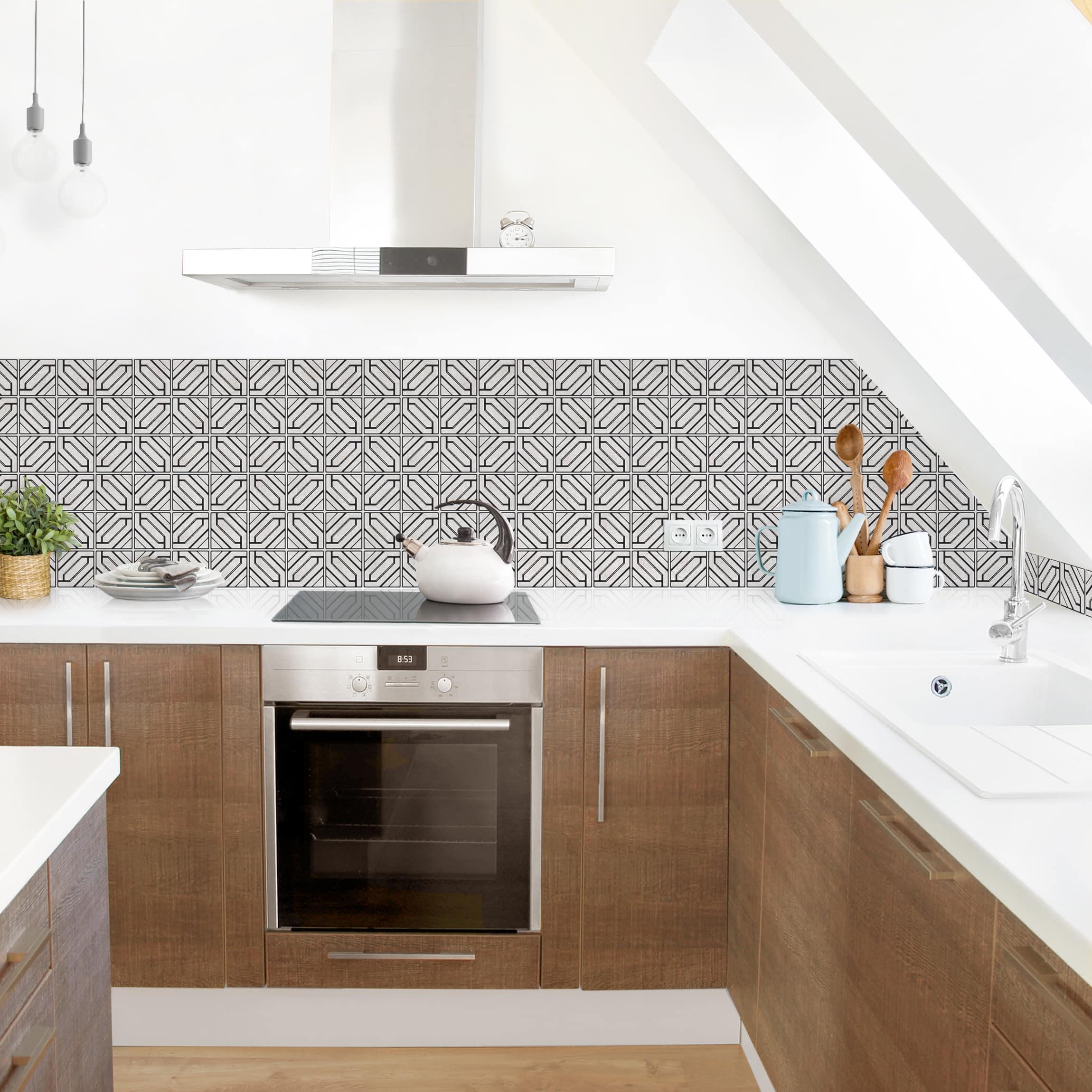 Küchenrückwand - Fliesenmuster Rauten Geometrie schwarz