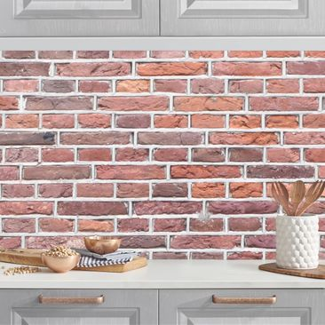 Produktfoto Küchenrückwand - Backstein Tapete Amsterdam rot, selbstklebend mit hochglänzender Öberfläche, Artikelnummer 232303-FV