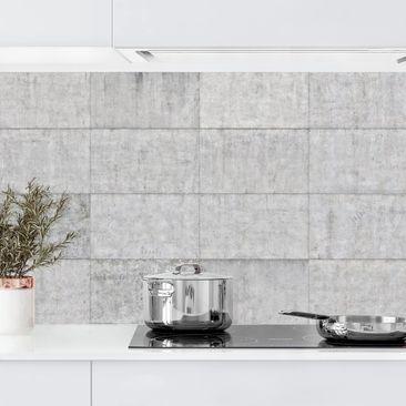 Produktfoto Küchenrückwand - Beton Ziegeloptik grau, selbstklebend mit hochglänzender Öberfläche, Artikelnummer 232317-FV
