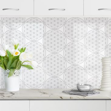 Produktfoto Küchenrückwand - Blume des Lebens Pattern silber, selbstklebend mit hochglänzender Öberfläche, Artikelnummer 232323-FV