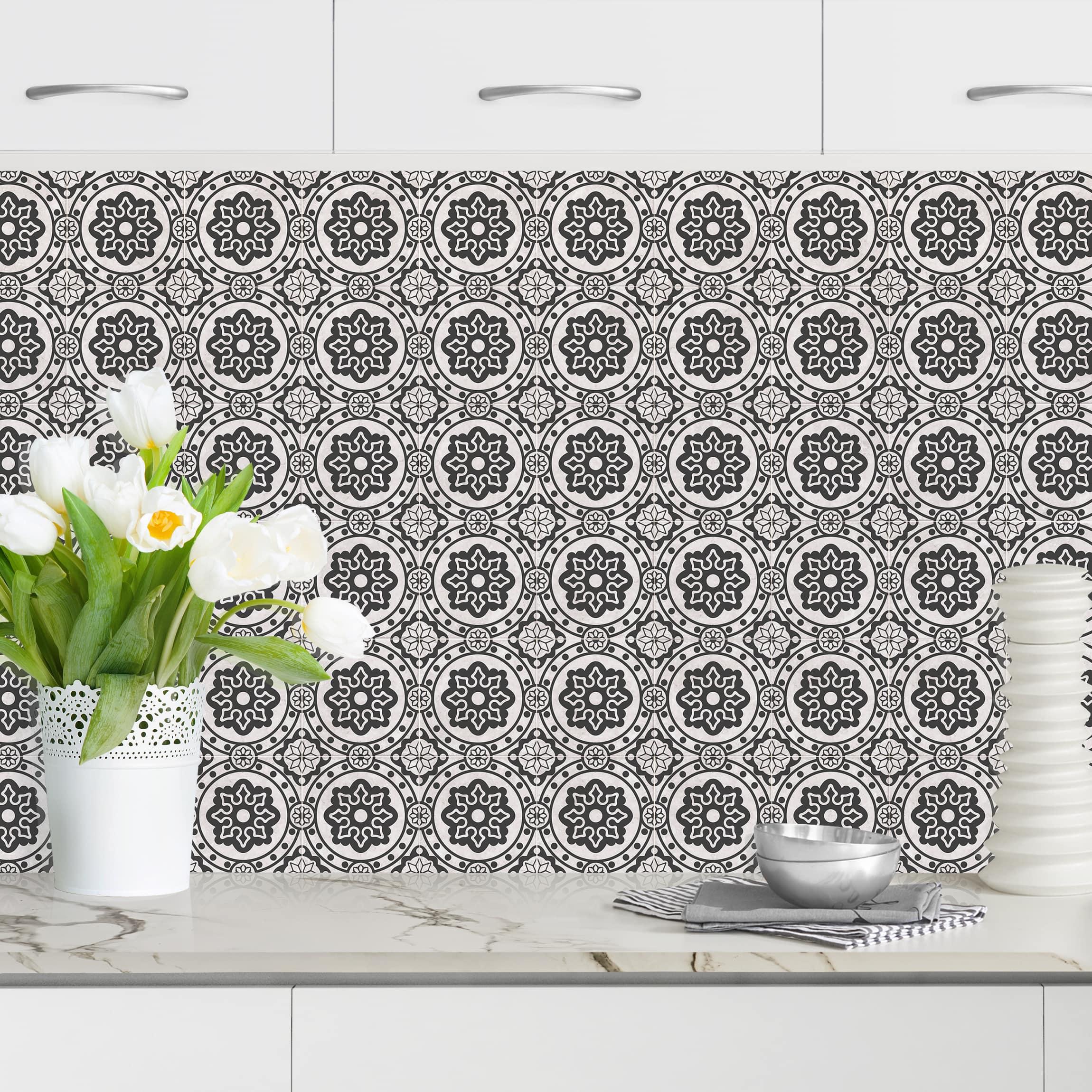 Küchenrückwand Florale Fliesen Schwarz Weiß