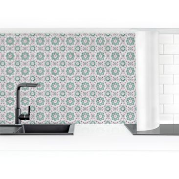 Product picture Self-adhesive splashback - Floral Tiles...