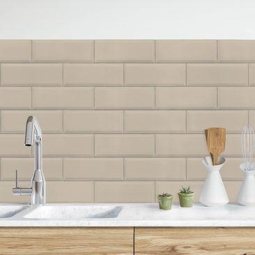 Produktfoto Küchenrückwand - Keramikfliesen Taupe vergrößerte Ansicht in Wohnambiente Artikelnummer232396-XWA