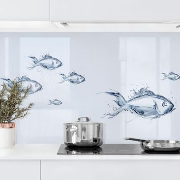 Product picture Self-adhesive splashback - Liquid Silver...