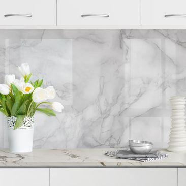 Produktfoto Küchenrückwand - Marmoroptik Schwarz Weiß, selbstklebend mit hochglänzender Öberfläche, Artikelnummer 232408-FV