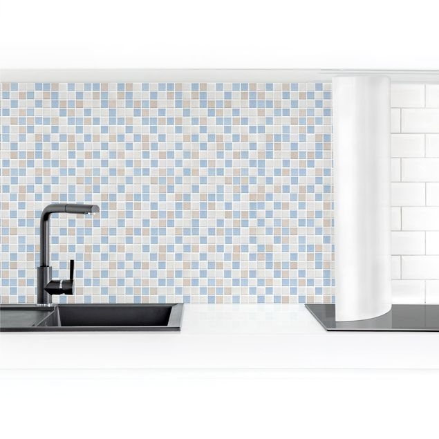 Produktfoto Küchenrückwand - Mosaikfliesen Meersand selbstklebend mit hochglänzender Oberfläche Artikelnummer 232424-FV