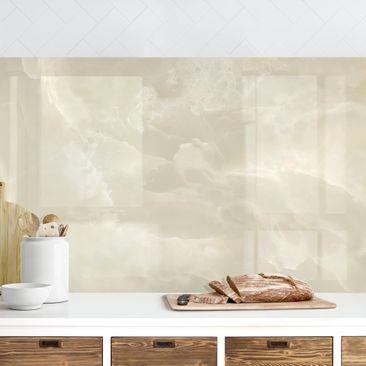 Produktfoto Küchenrückwand - Onyx Marmor Creme, selbstklebend mit hochglänzender Öberfläche, Artikelnummer 232431-FV