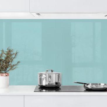 Produktfoto Küchenrückwand - Pastelltürkis vergrößerte Ansicht in Wohnambiente Artikelnummer232437-XWA
