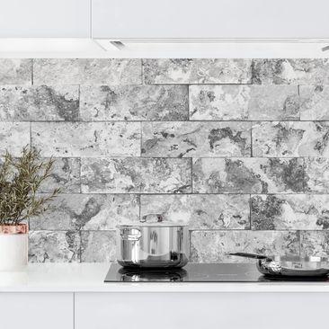 Produktfoto Küchenrückwand - Steinwand Naturmarmor grau, selbstklebend mit hochglänzender Öberfläche, Artikelnummer 232461-FV