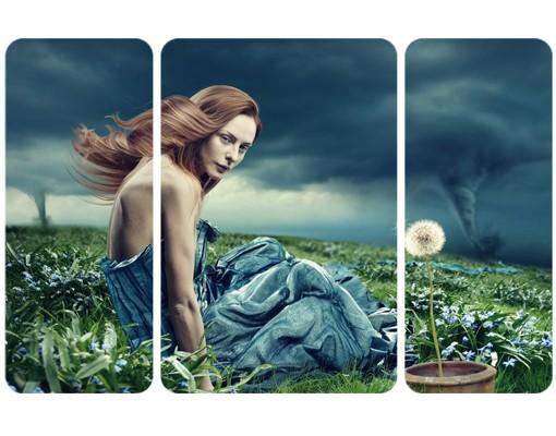 Produktfoto Selbstklebendes Wandbild Frau im Sturm Triptychon II