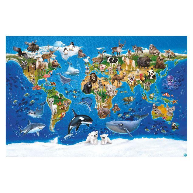 Produktfoto Tapete selbstklebend Kinderzimmer - Animal Club International - Weltkarte mit Tieren - Fototapete Querformat