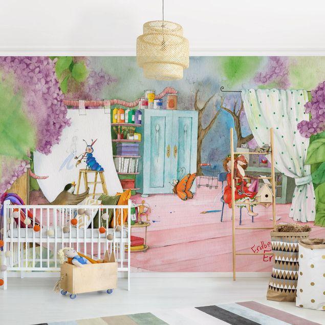 Produktfoto Selbstklebende Tapete Kinderzimmer - Erdbeerinchen Erdbeerfee - Bastelstunde - Fototapete Querformat