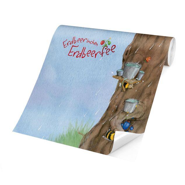 Produktfoto Selbstklebende Tapete Kinderzimmer - Erdbeerinchen Erdbeerfee - Es Regnet - Fototapete Querformat