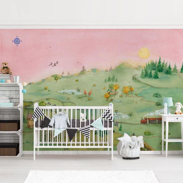 Produktfoto Selbstklebende Tapete Kinderzimmer - Fridas Welt - Fototapete Querformat