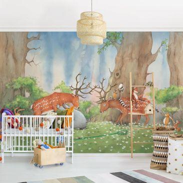 Produktfoto Selbstklebende Tapete Kinderzimmer - Wassili hilft den Hirschen - Fototapete Querformat