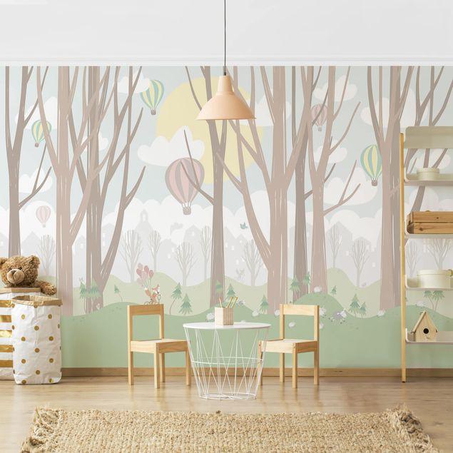 Produktfoto Selbstklebende Tapete Kinderzimmer - Sonne mit Bäumen und Heißluftballons - Fototapete Querformat