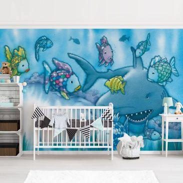 Produktfoto Tapete selbstklebend - Der Regenbogenfisch - Hai Attacke - Fototapete Querformat