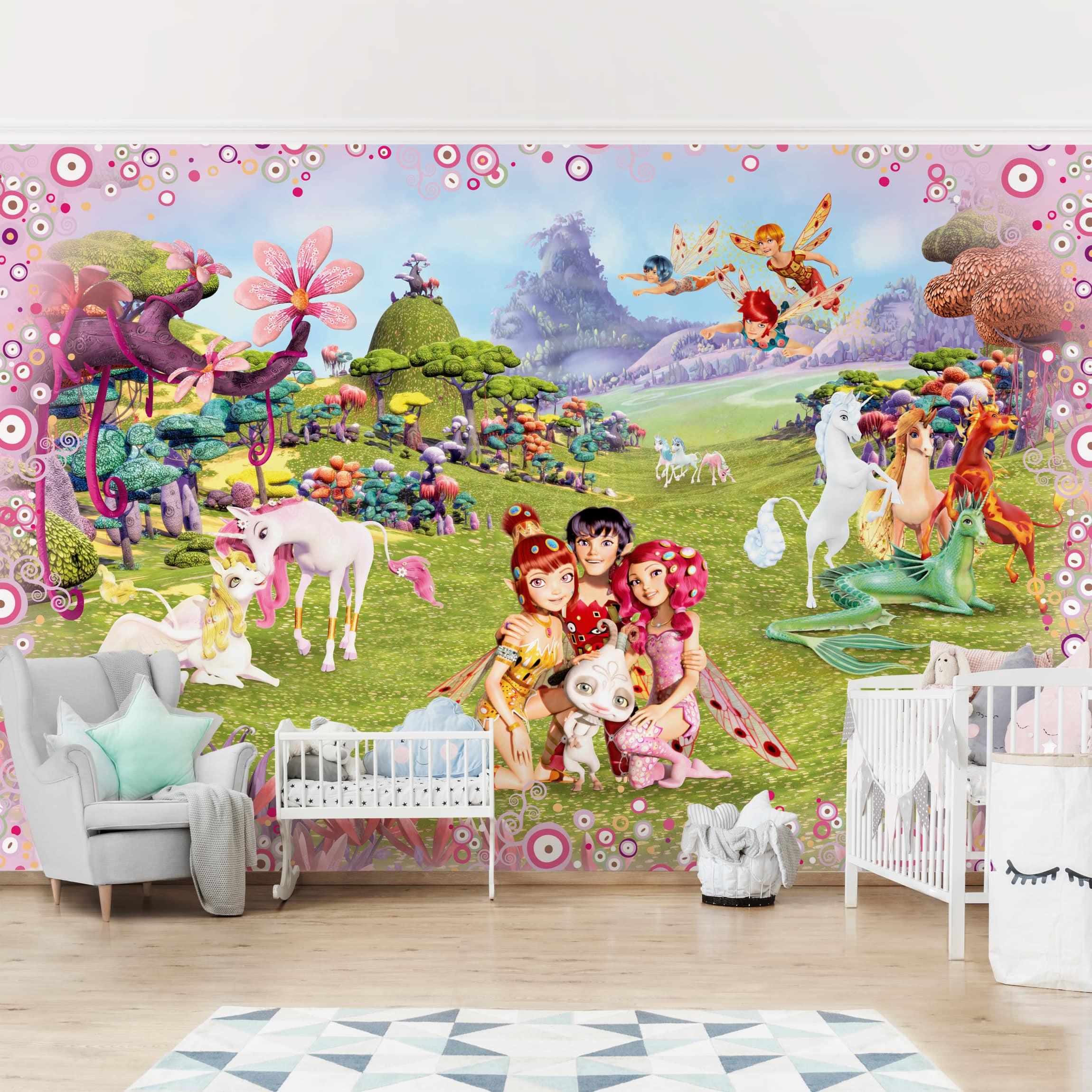 Selbstklebende Tapete Kinderzimmer - Mia and Me - Mia´s magische Welt -  Fototapete Querformat