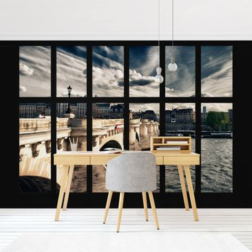Product picture Photo Wall Mural - Window Bridge Paris -...