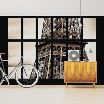 Product picture Photo Wall Mural - Window Eiffel Tower...
