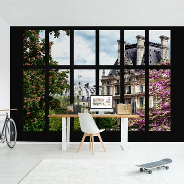 Produktfoto Tapete selbstklebend - Fenster Frühling II Paris - Fototapete Querformat