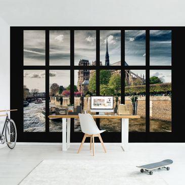 Produktfoto Tapete selbstklebend - Fenster Notre-Dame Paris - Fototapete Querformat