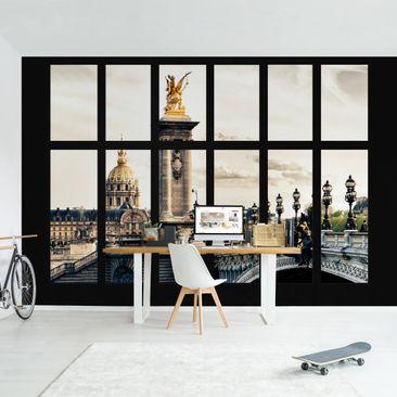 Produktfoto Tapete selbstklebend - Fenster Pont Alexandre Paris - Fototapete Querformat