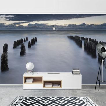 Product picture Photo Wall Mural - Wooden Groynes In The...