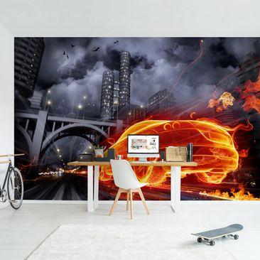 Produktfoto Tapete selbstklebend - Feuerauto - Fototapete Querformat