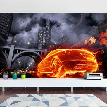 Product picture Photo Wall Mural - Fire Car -...