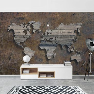 Product picture Photo Wall Mural - Wooden Grid World Map...