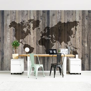 Product picture Photo Wall Mural - Wood World Map -...