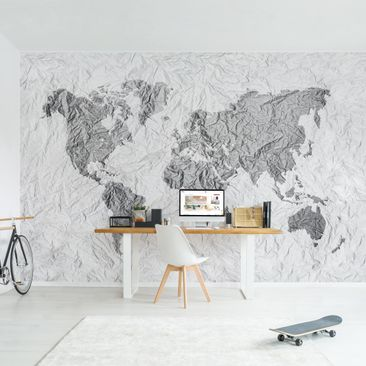 Product picture Photo Wall Mural - Paper World Map White...