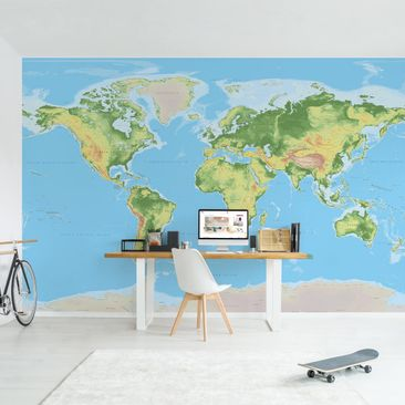 Produktfoto Photo Wall Mural - Physical World Map -...
