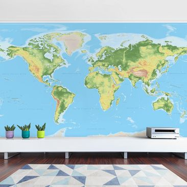 Product picture Photo Wall Mural - Physical World Map -...
