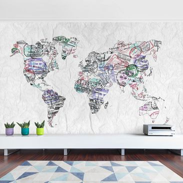 Product picture Photo Wall Mural - Passport Stamp World...