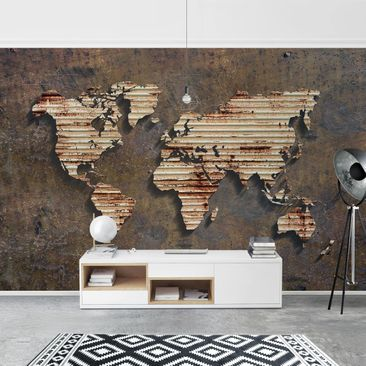 Product picture Photo Wall Mural - Stainless World Map -...
