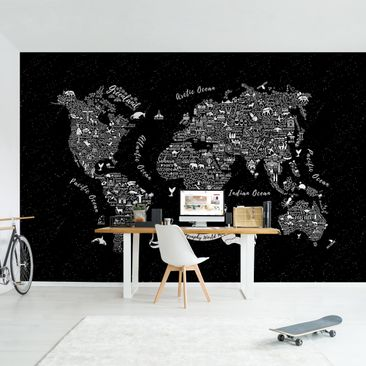 Product picture Photo Wall Mural - Typography World Map...