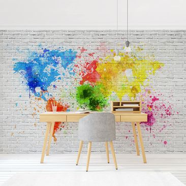 Product picture Photo Wall Mural - White Brick Wall...