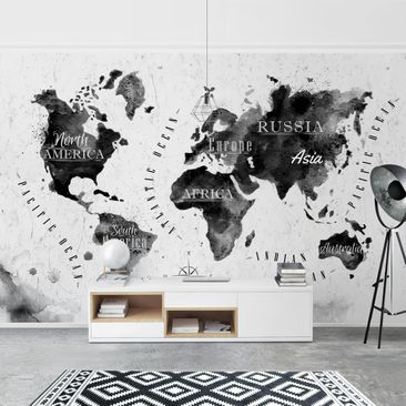 Product picture Photo Wall Mural - World Map Watercolor...