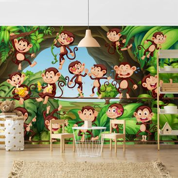 Product picture Photo Wall Mural - Jungle Monkeys -...
