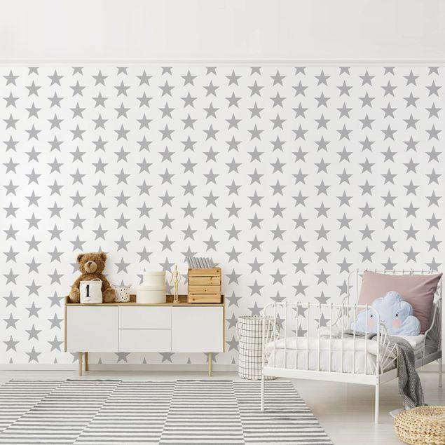 Produktfoto Selbstklebende Tapete Kinderzimmer - Große graue Sterne auf Weiß - Fototapete Querformat