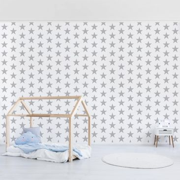 Product picture Photo Wall Mural - Large Gray Stars On...