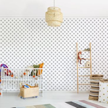 Produktfoto Selbstklebende Tapete Kinderzimmer - Punkte Grau auf Weiß - Fototapete Querformat